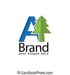Spruce Letter A Logo. Vector Illustration on white background