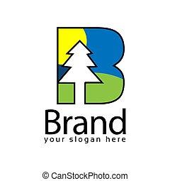 Spruce Letter B Logo. Vector Illustration on white background