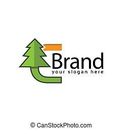 Spruce Letter C Logo. Vector Illustration on white background