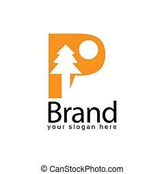Spruce Letter P Logo. Vector Illustration on white background