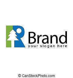 Spruce Letter R Logo. Vector Illustration on white background