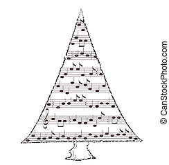 Spruce - Music theme, notation in the form of spruce, vector