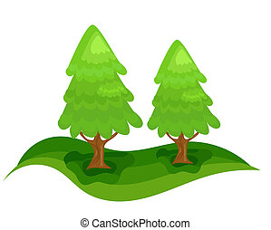 Two green spruce trees in forest. Christmas tree