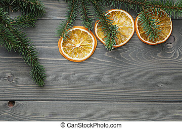 spruce twig with dried orange slices