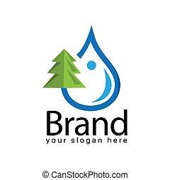 Spruce water logo. Vector Illustration on black background