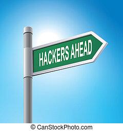 spruch, hackers, voraus, zeichen, straße, 3d