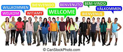 spruch, multi, personengruppe, herzlich willkommen, junger, ethnisch, lächeln
