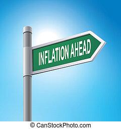 spruch, voraus, zeichen, inflation, straße, 3d