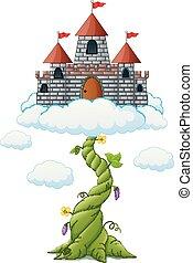 spruit, boon, wolken, kasteel, spotprent