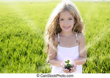 spruit, plant, groeiende, van, klein meisje, handen, outdoo