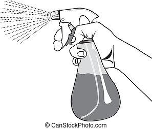 spruzzo, mano, contorno, bottiglia, presa a terra