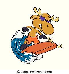 sprytny, łoś, dzieciaki, surfer
