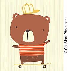 sprytny, łyżwa, niedźwiedź