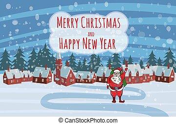 sprytny, święty, ręka, odizolowany, śnieg, szablon, zabawny, styl, krajobraz, zima, karta, płatki śniegu, wektor, spadanie, boże narodzenie, jego, claus, dary, wesoły, rysunek, chorągiew, falować, powitanie, torba