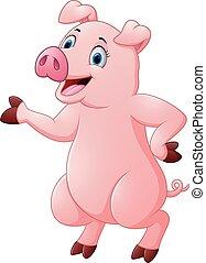 sprytny, świnia, przedstawiając, rysunek