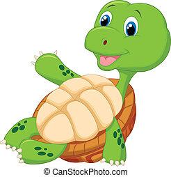 sprytny, żółw, odprężając, rysunek