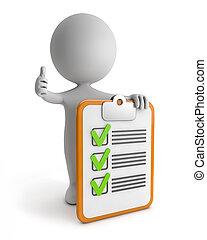 sprytny, 3d, -, checklist, ludzie