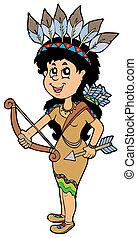 sprytny, amerykański indianin, dziewczyna, krajowiec