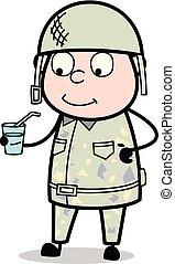 sprytny, armia, żołnierz, -, ilustracja, sok, wektor, ...