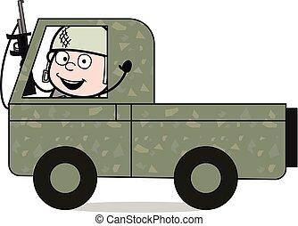 sprytny, armia, -, do góry, ilustracja, żołnierz, wektor,...