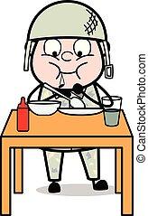 sprytny, armia, -, głodny, ilustracja, żołnierz, wektor, ...
