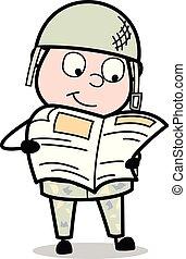 sprytny, armia, -, ilustracja, żołnierz, wektor, gazeta, ...