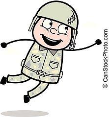 sprytny, armia, -, ilustracja, żołnierz, wektor, haczyk,...