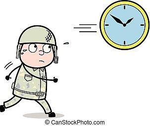 sprytny, armia, -, ilustracja, żołnierz, wyścigi, wektor,...