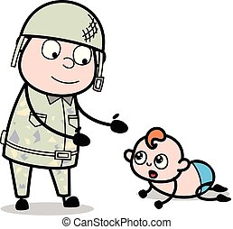 sprytny, armia, -, ilustracja, interpretacja, żołnierz, ...
