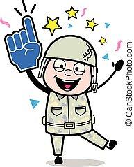 sprytny, armia, -, ilustracja, radosny, żołnierz, wektor, ...