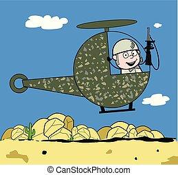 sprytny, armia, przelotny, -, ilustracja, żołnierz, wektor,...