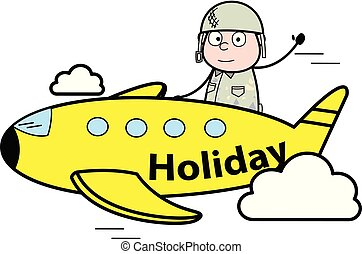 sprytny, armia, samolot, -, ilustracja, żołnierz, wektor, ...