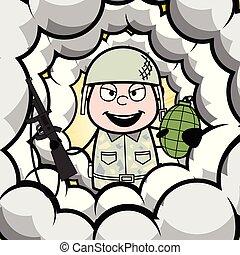 sprytny, armia, ułożyć, -, ilustracja, środek, żołnierz, ...