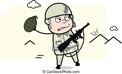 sprytny, armia, wyrzucanie, -, ilustracja, granat, żołnierz...