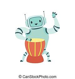 sprytny, bęben, muzyk, robot, ilustracja, grający instrument, wektor, etniczny, muzyczny