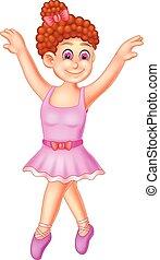 sprytny, balerina, falować, przedstawianie, uśmiech, rysunek