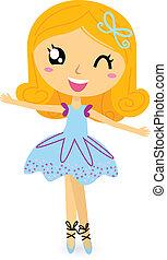 sprytny, baletnica, dziewczyna, odizolowany, na, white.