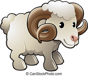 sprytny, baran, owca uprawiają, zwierzę, wektor, ilustracja
