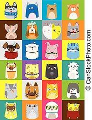 sprytny, barwny, próbka, set., psy, wektor, koty, pets.