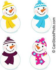 sprytny, barwny, wektor, snowmen, zbiór, odizolowany, na białym