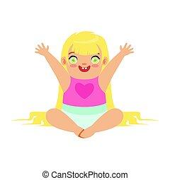 sprytny, blondynka, dziewczyna niemowlęcia, posiedzenie, z, herb, raised., barwny, rysunek, litera, wektor, ilustracja