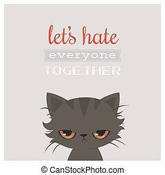 sprytny, card., cartoon., gniewny, kot, powitanie, kot, ...