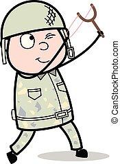 sprytny, celowanie, armia, katapulta, -, ilustracja, ...