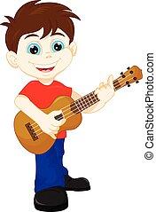 sprytny, chłopiec, grając gitarę