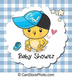 sprytny, chłopiec, powitanie, przelotny deszcz, kurczę niemowlęcia, karta