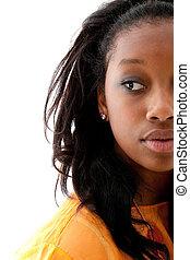 sprytny, czarna kobieta, młody