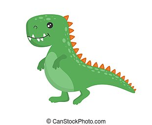 sprytny, dinozaur, zielony