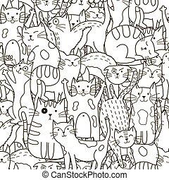 sprytny, doodle, pattern., seamless, koty, czarne tło, biały