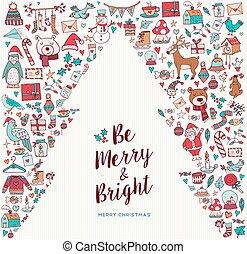 sprytny, drzewo, ręka, pociągnięty, święto, kartka na boże narodzenie, ikona