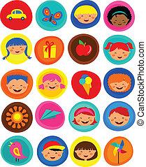 sprytny, dzieciaki, próbka, z, ikony, wektor, ilustracja